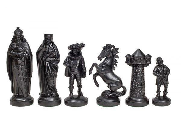 Piese de șah figurine medievale negr::crem (fără contragreutate) 1