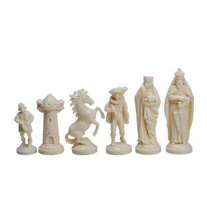 Piese de șah figurine medievale negr::crem (fără contragreutate) 2
