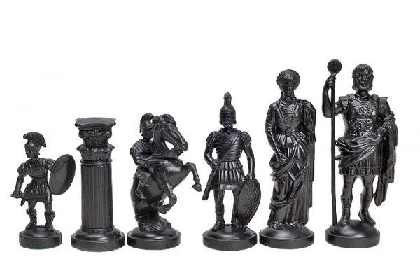 Piese de șah figurine romane negr::crem (fără contragreutate) 2