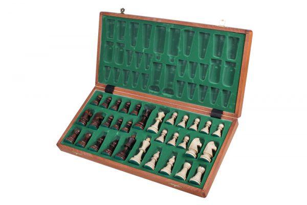 2 Set piese de sah din lemn nr 6 in cutie de lemn cu organizator