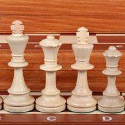 6 Set piese de sah din lemn nr 6 in cutie de lemn cu organizator