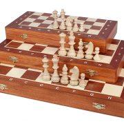 9 Set piese de sah din lemn nr 6 in cutie de lemn cu organizator