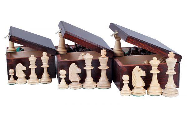 Piese de sah STAUNTON nr 6, in cutie de lemn maro inchis 2