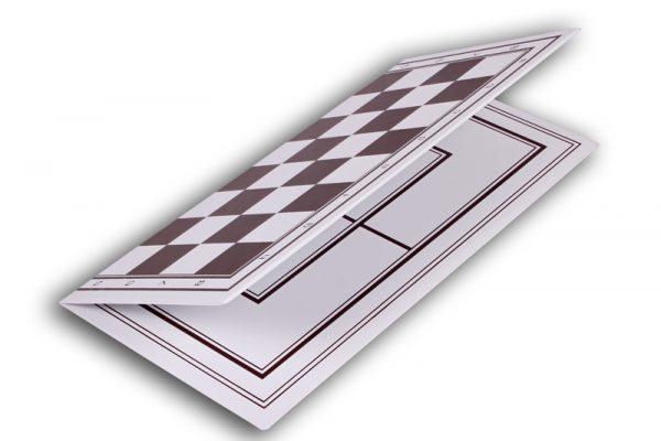 Tabla si piese de sah din plastic alb-maro, 42mm 2